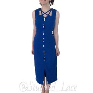 Vintage Blue Midi Dress